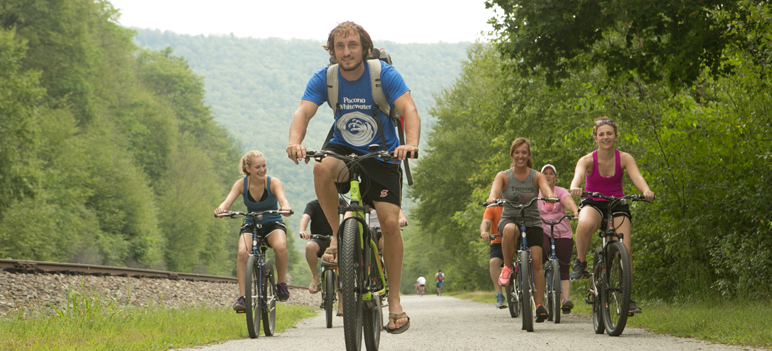 People biking trails in Carbon County, PA