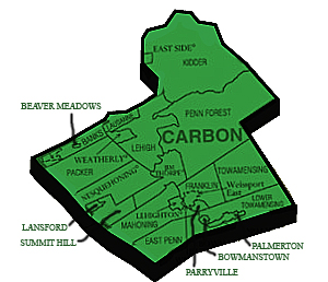 Carbon County simple geographical map
