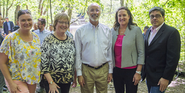 Governor Wolf, CCEDC staff and Chris Barrett of the PMVB visit Glen Onoko Trail.