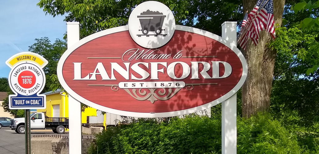 Welcome to Lansford, PA sign.