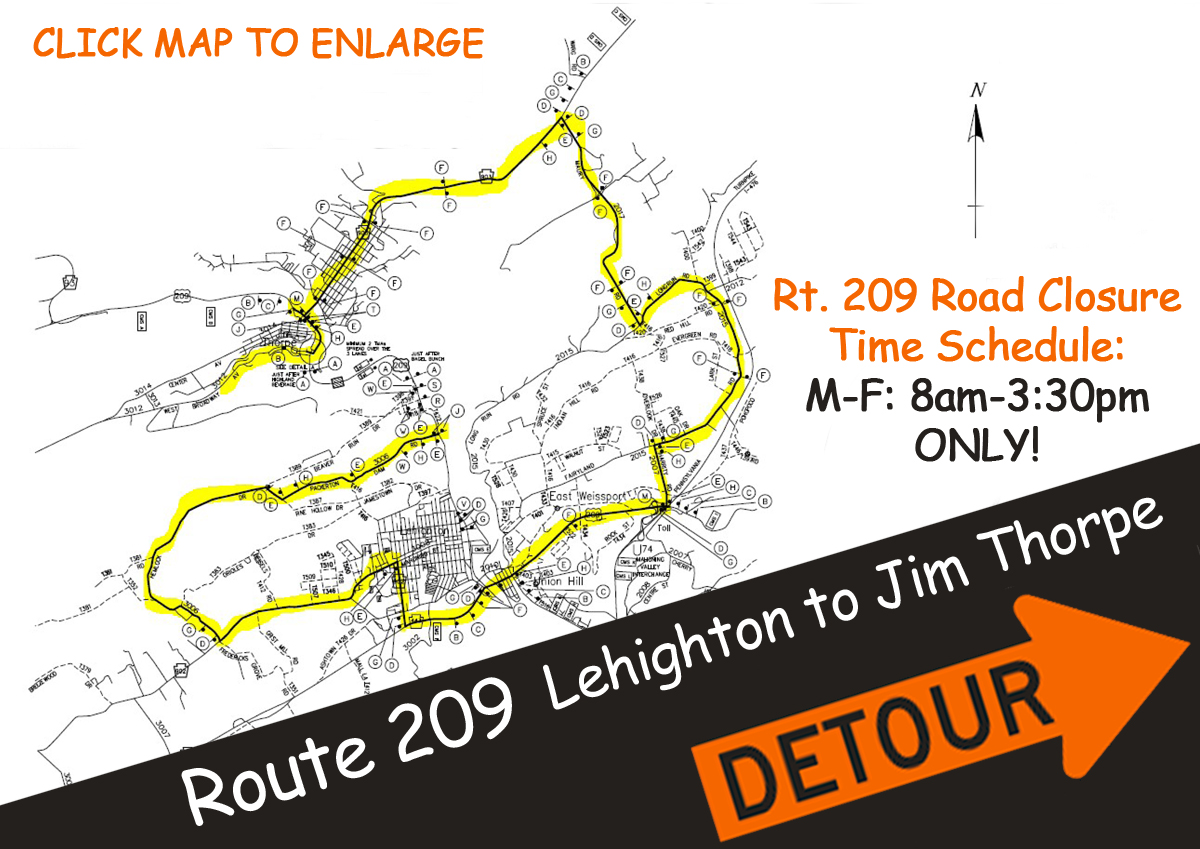 Route 209 Lehighton-Jim Thorpe Road Closure Map Download
