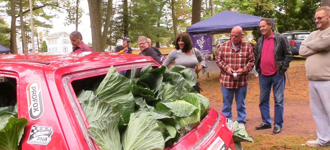 Cabbage filled car people watching at Carbon County Cabbage Fest.