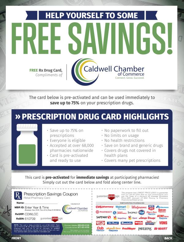 Flyer for the discount prescription drug card