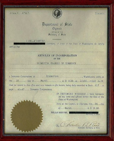 Photo of Articles of Incorporation for Bremerton Chamber of Commerce signed by William Gates, grandfather of Bill Gates