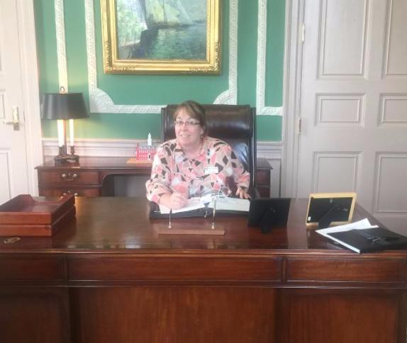NVCoC's Chairwoman, Julie Crowley of Mt. Wachusett Community College, at the Governor's Desk