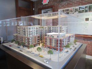 Building model in glass case