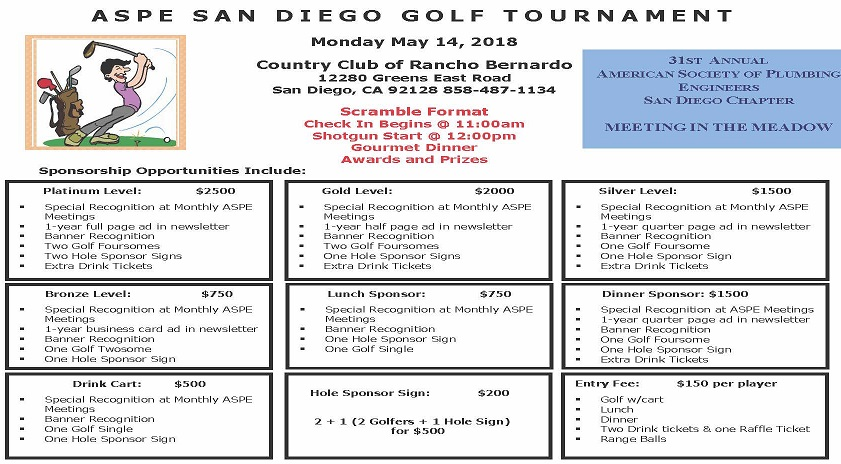 2018 ASPE-SD Golf Tournament May 14