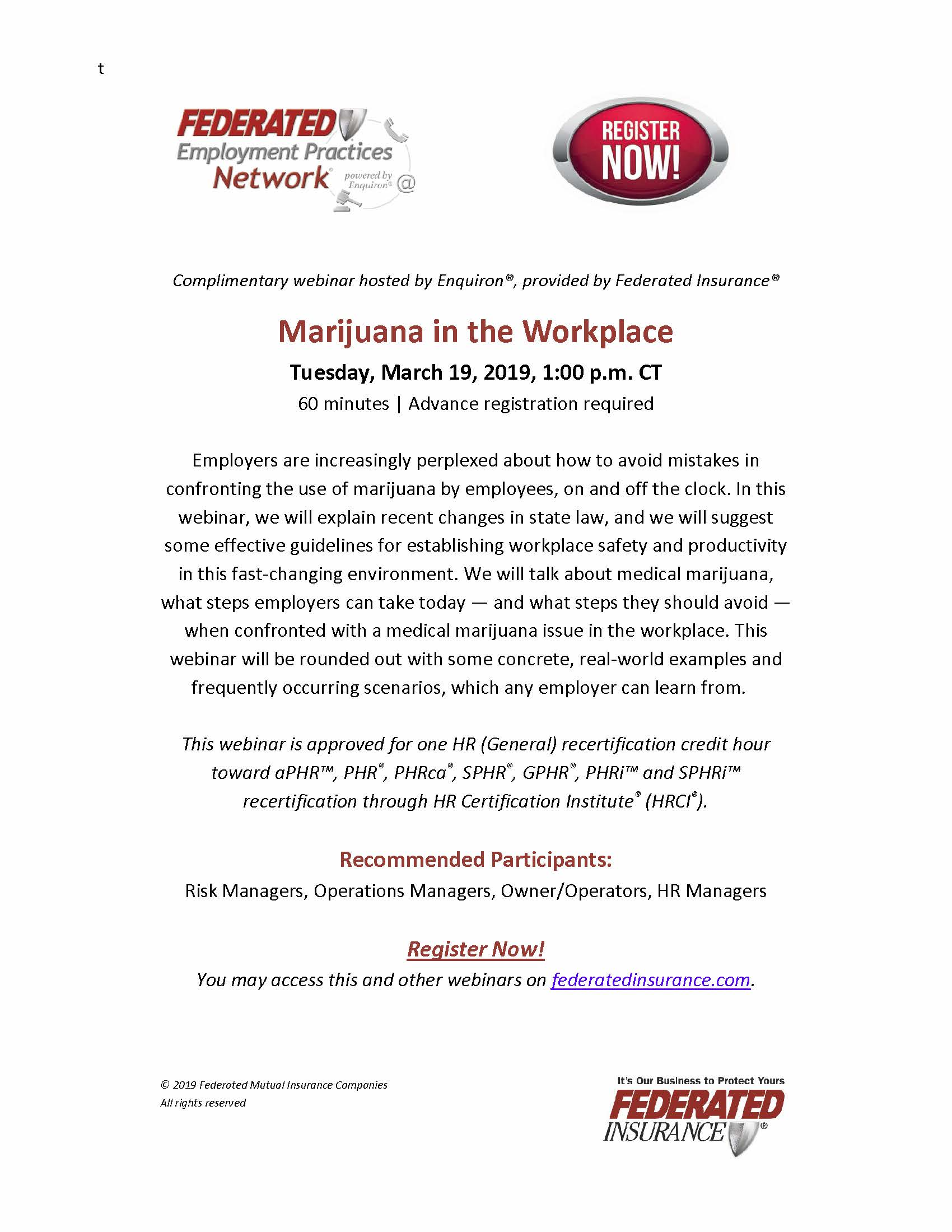 Federated Webinar_Marijuana in the Workplace_March 19_2019