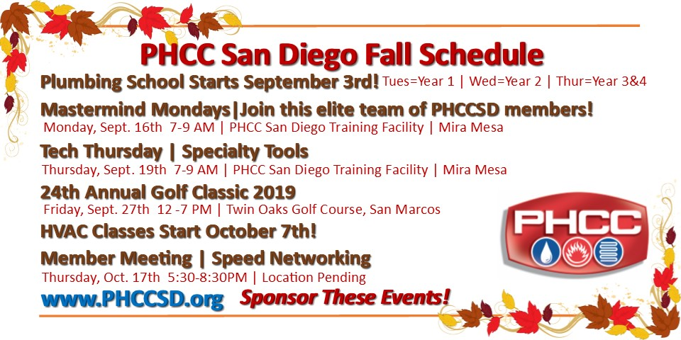 PHCC San Diego Fall 2019 Schedule