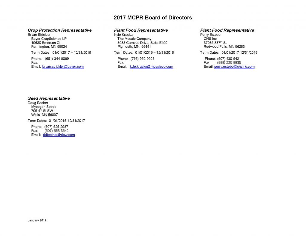 2017 MCPR Board of Directors...cont.