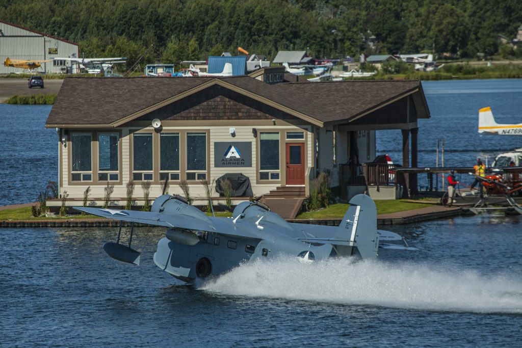 Grumman Goose water taxing from the West channel of Lake Hood Seaplane Base. Photo by Rob Stapleton/Alaskaofto
