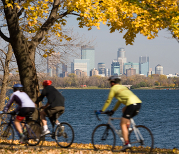 image of riding bicycles on lake side