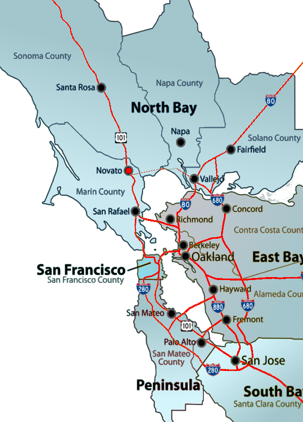 Map Novato Bay Area Chamber developing a strong north bay ecponomy