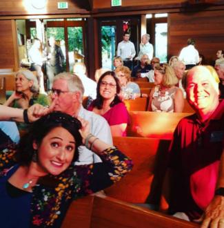 Christina Niles, Mike Read Marie Rios Novato Chamber Presbyterian Church nOvato Mixer