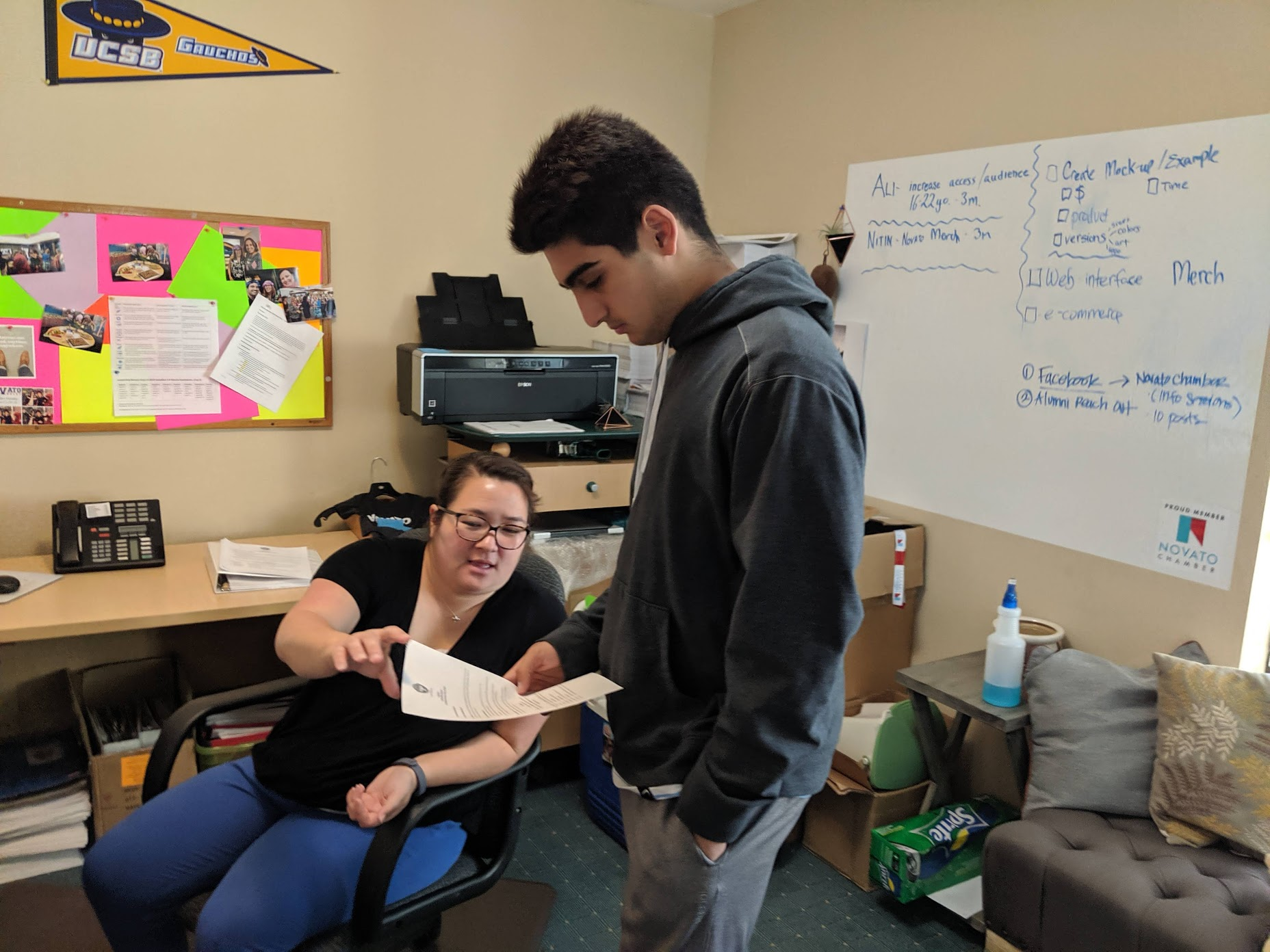 Internships at the Novato Chamber working project