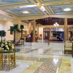 Hall in hotel with marble floor