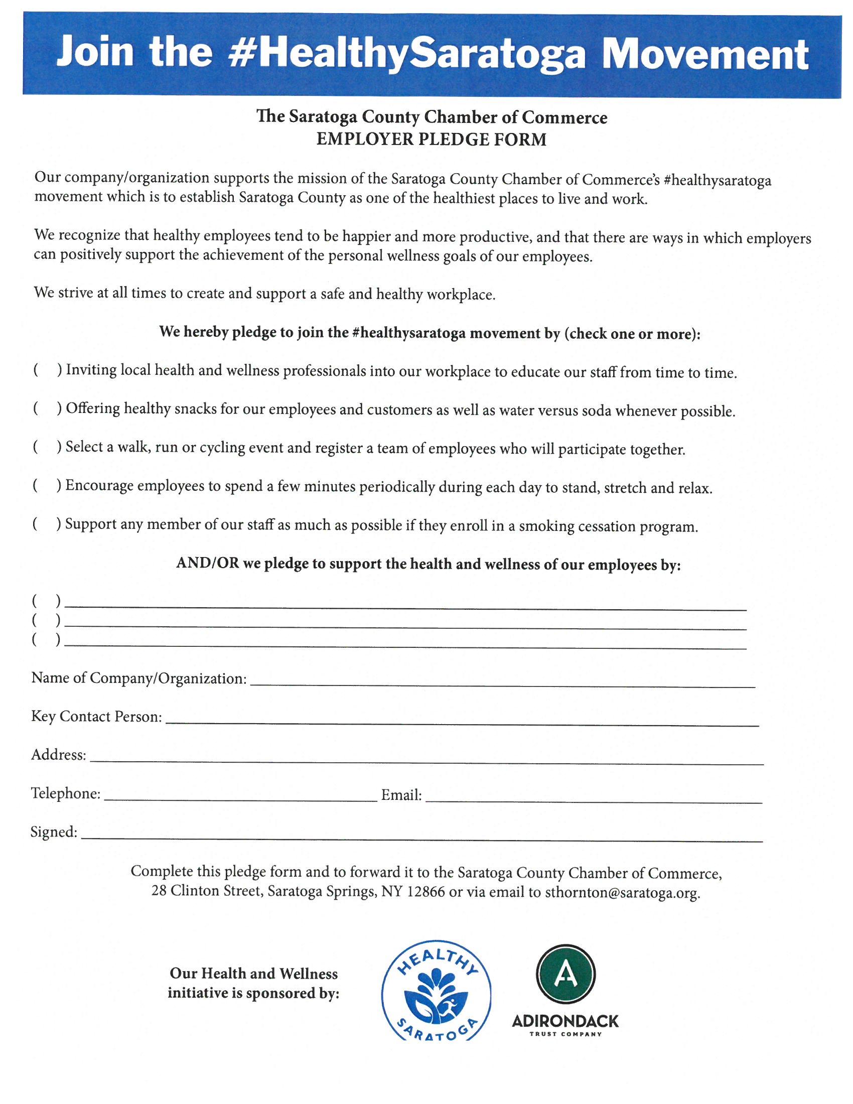 2018 Healthy Saratoga Pledge