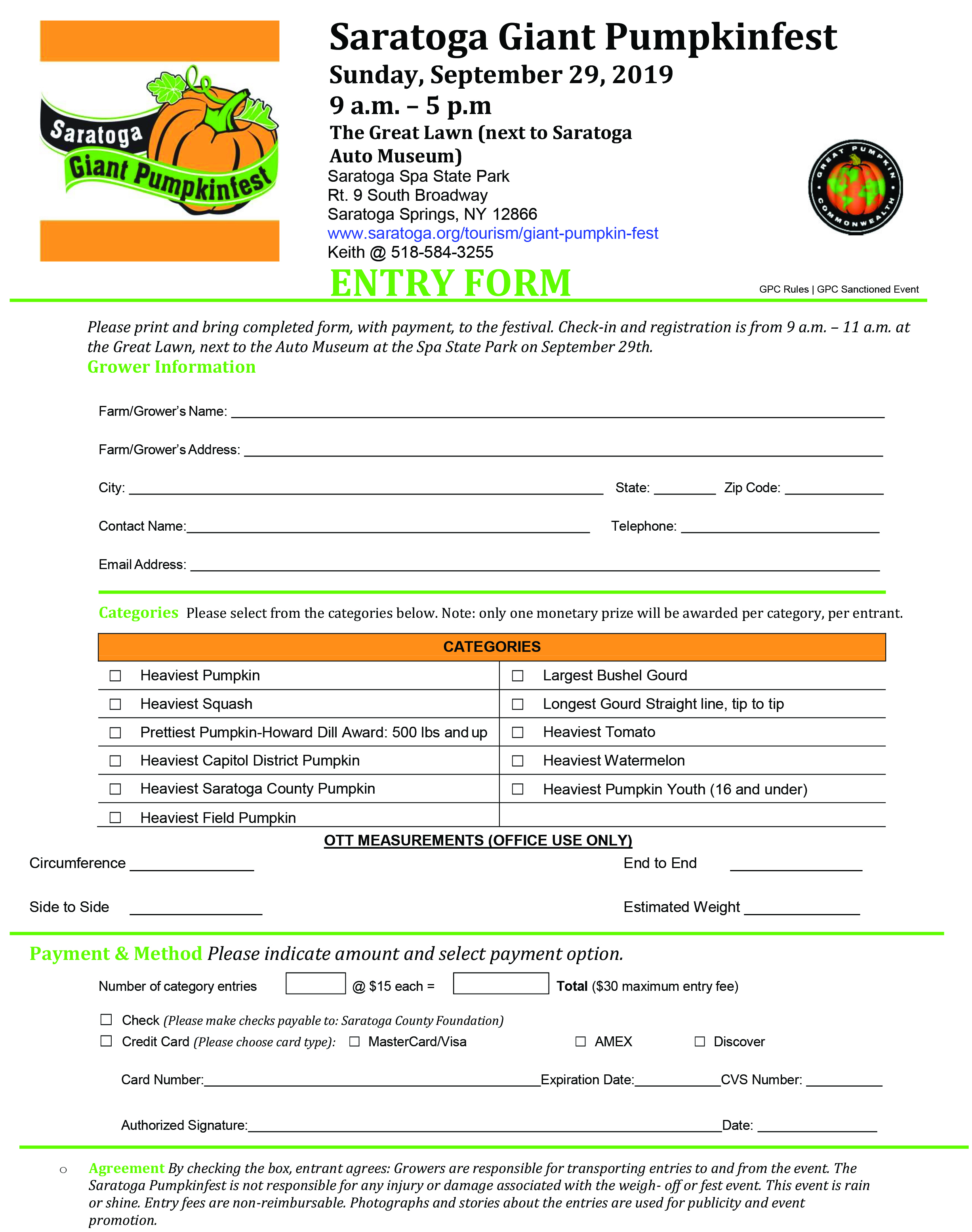 Microsoft Word - Saratoga Giant Pumpkin Fest_Entry Form_2017.doc