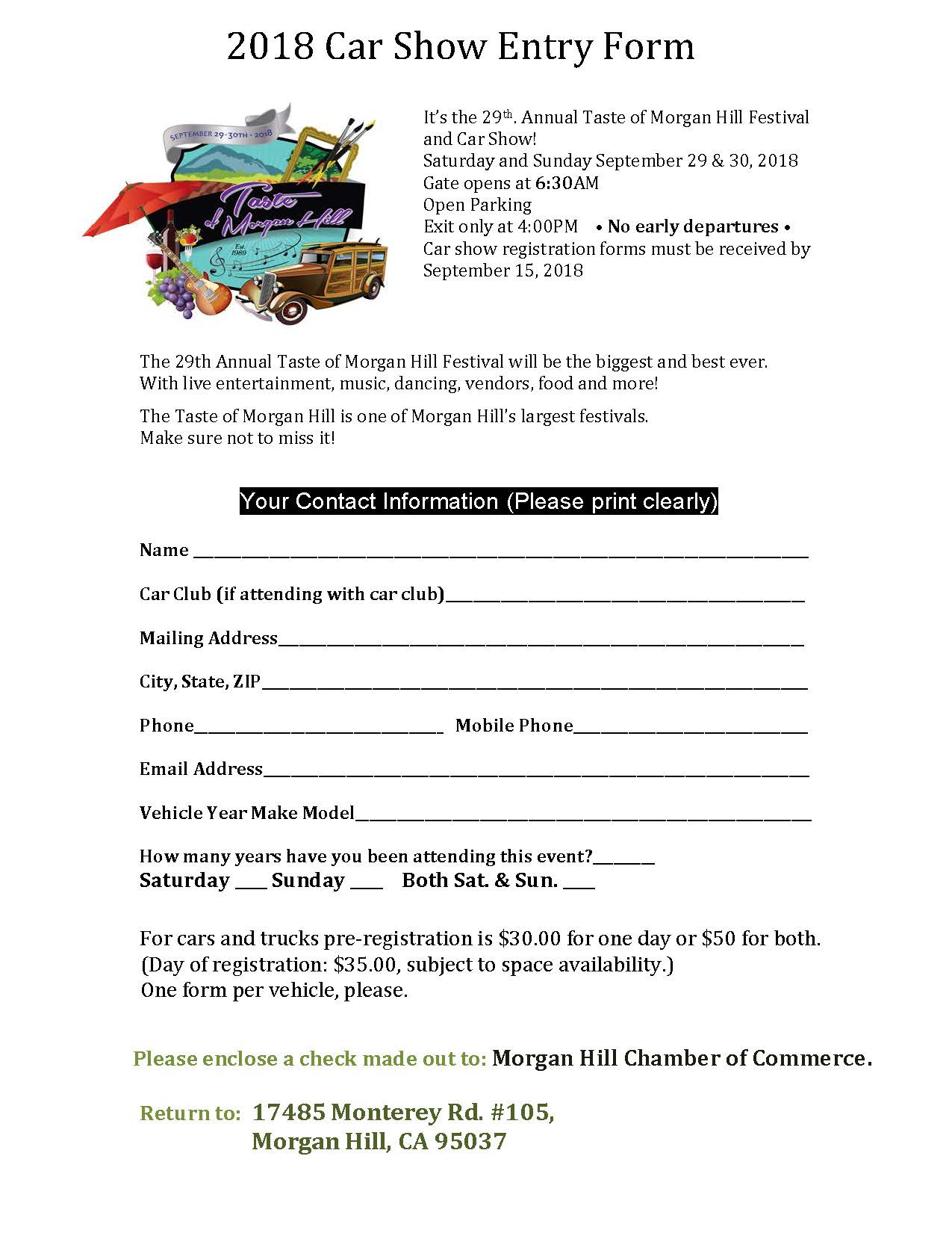 The 29th Annual Taste Car Show Entry Form