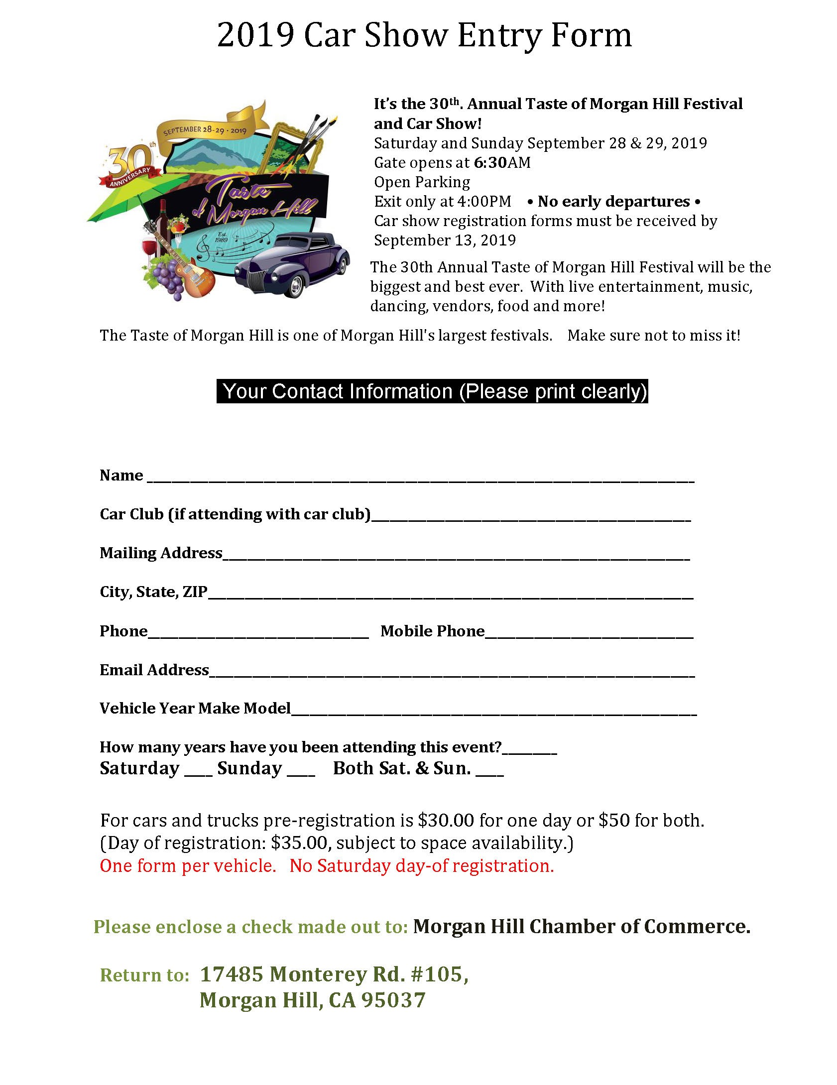 The 30th Annual Taste Car Show Entry Form