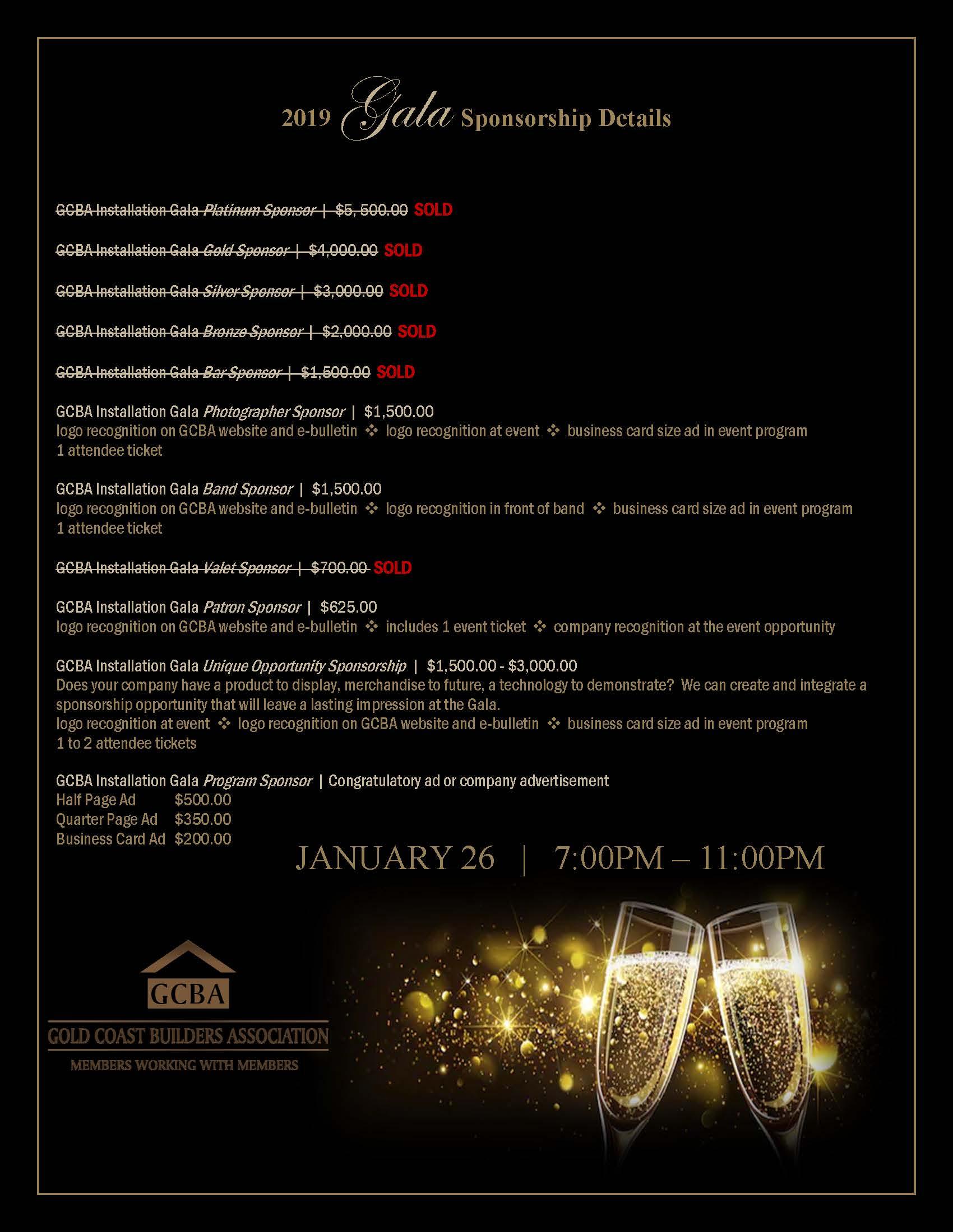 2019 Gala Sponsorship Details