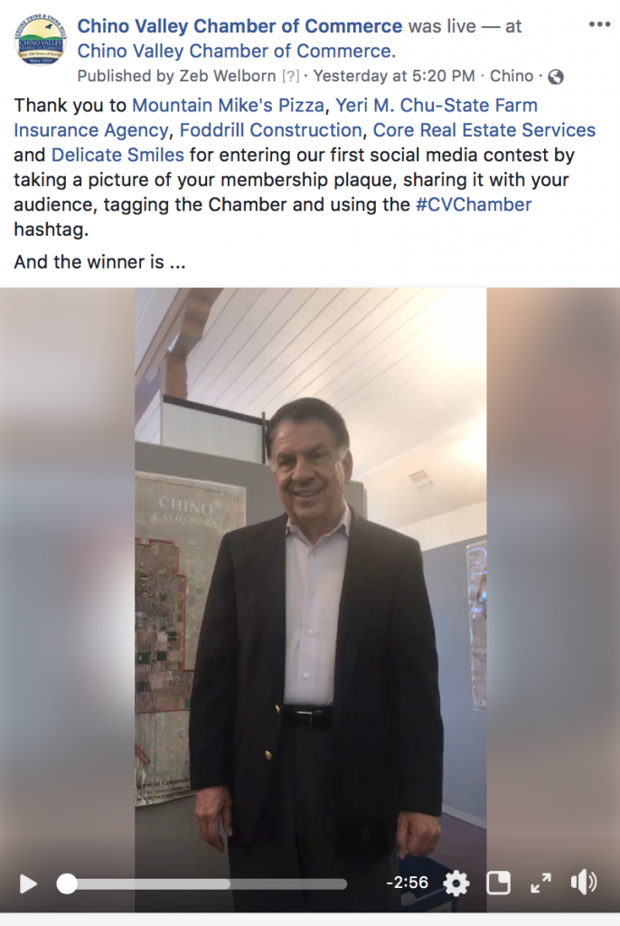 Frank Ortiz Social Media Contest for Chino Valley Chamber of Commerce