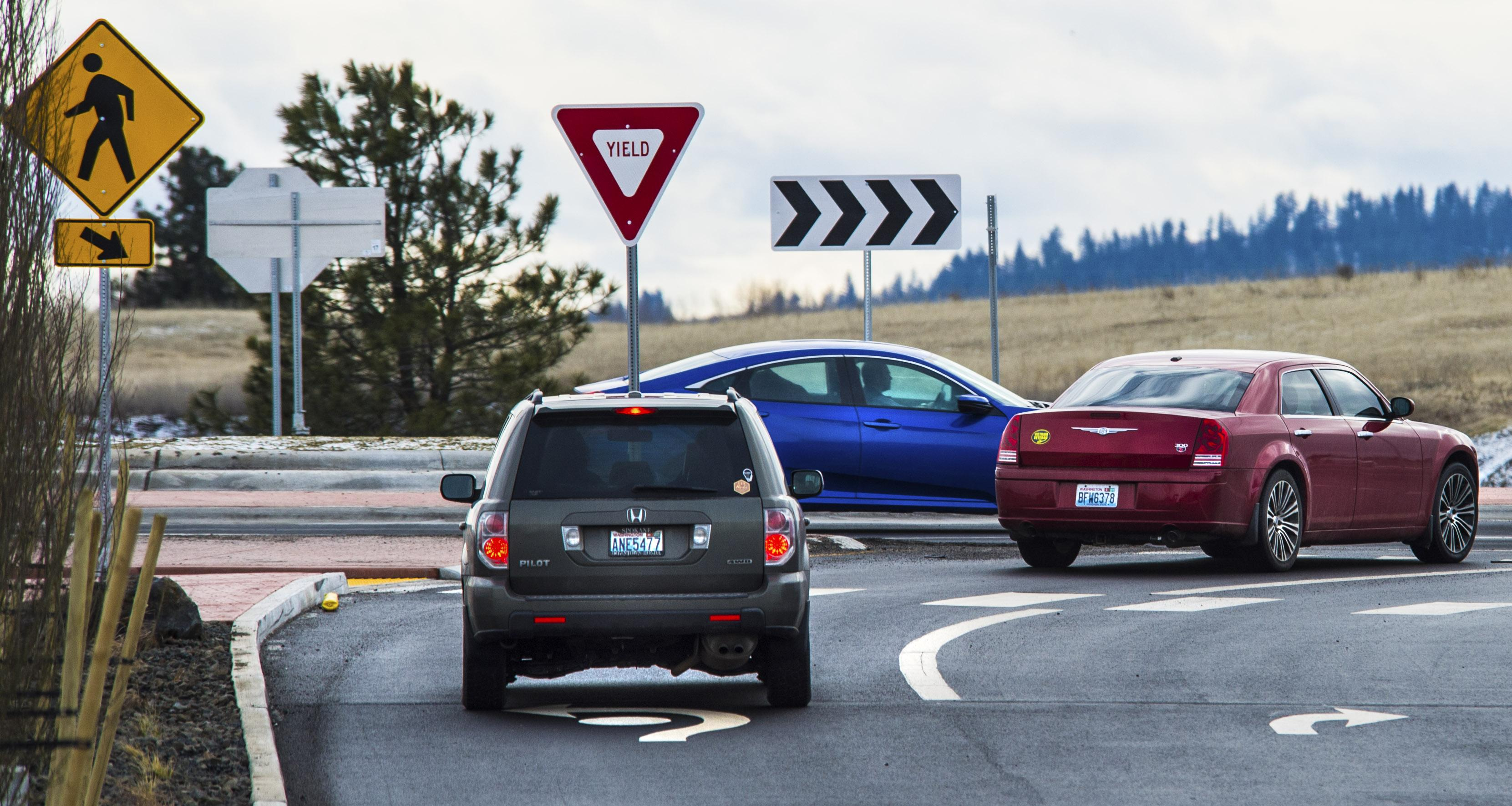 A pair of cars wait to enter the roundabout after leaving the Spokane Tribe Casino on U.S Highway 2, Friday, Jan. 26, 2018, in Airway Heights, Wash. Dan Pelle/THE SPOKESMAN-REVIEW