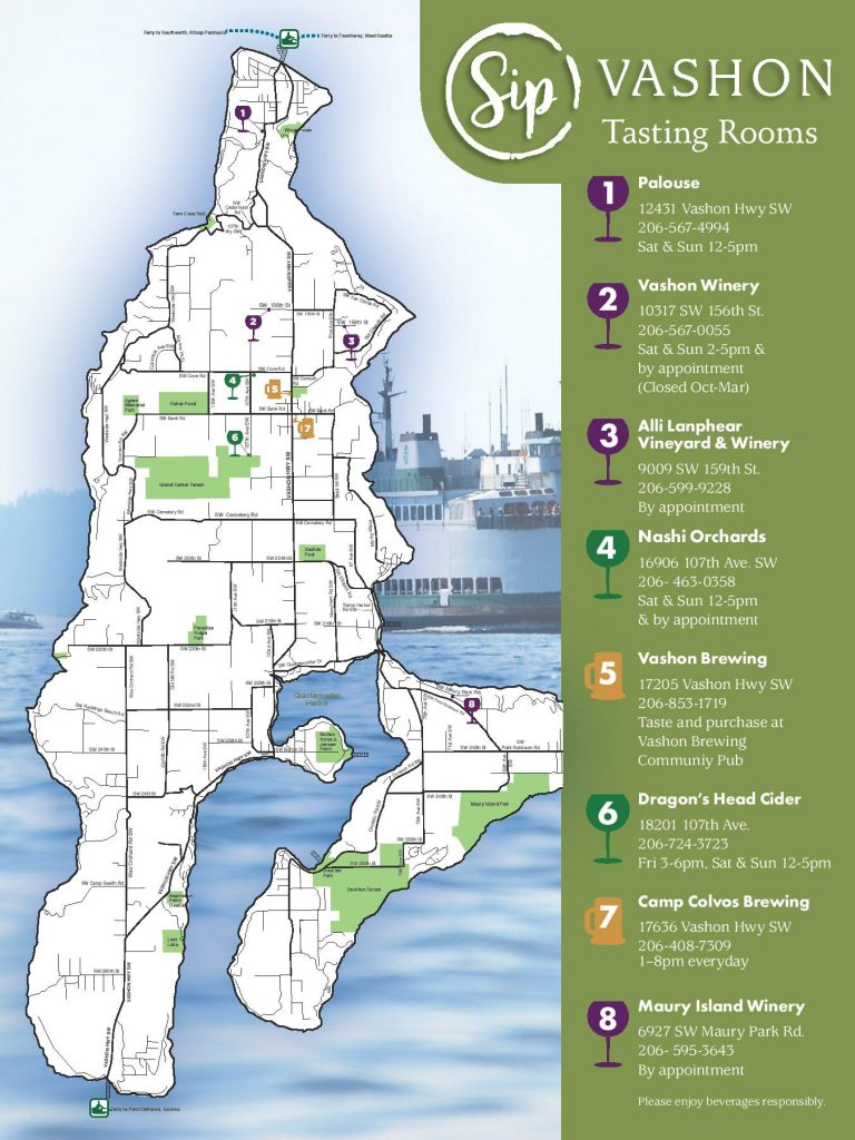 Map of tasting rooms on Vashon Island