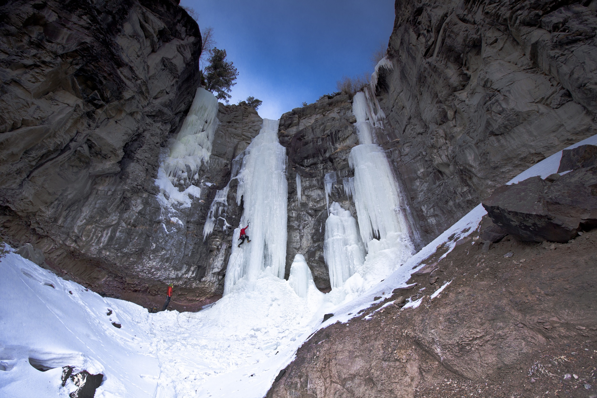 Ice Climbing Cody South Fork