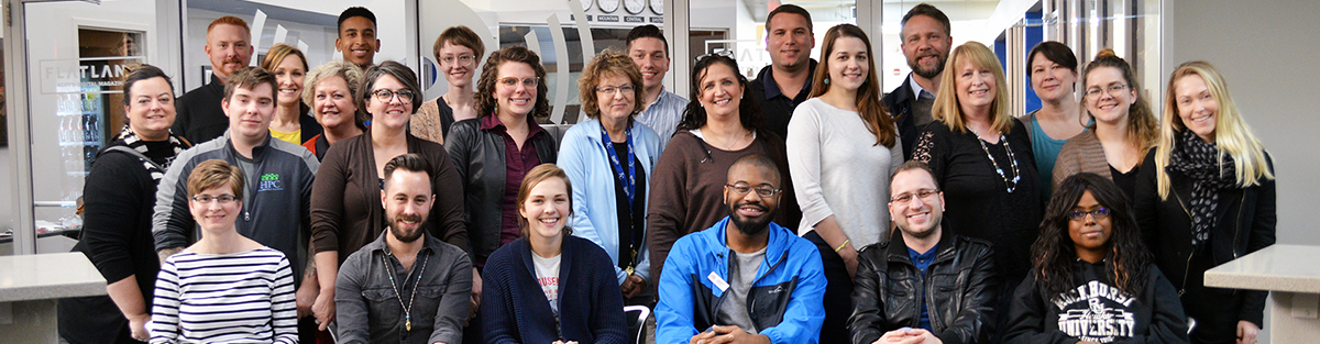Graduates of Nonprofit Connect's Volunteer Management Institute sit for their graduation picture.