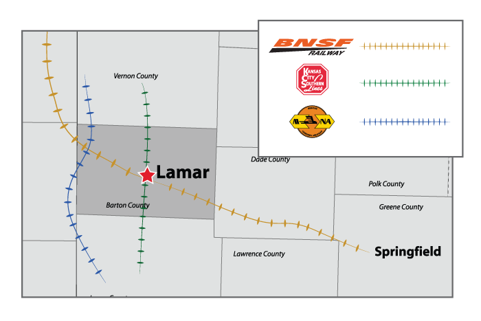 lamar barton county missouri rail road access