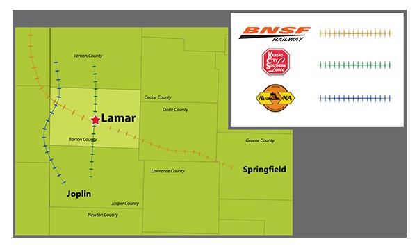 Barton County Missouri Rail Map - BNSF - KSCL - MoNArk