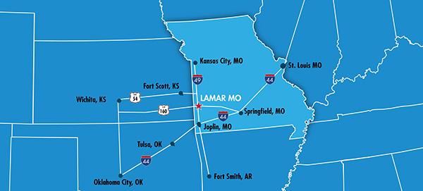 Lamar Missouri Location Midwest Southwest Highway Map