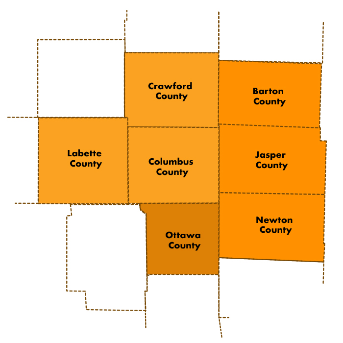 Midwest Workforce Counties -- Missouri Kansas Oklahoma