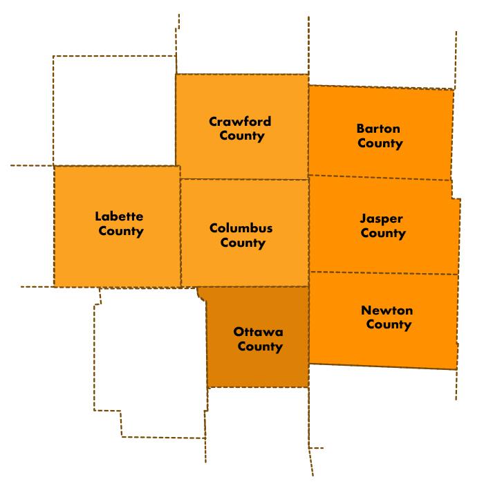 Midwest Workforce Counties -- Missouri Kansas Oklahoma