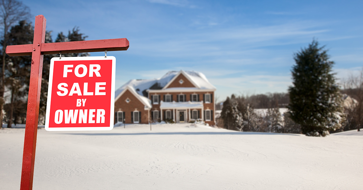 Home for sale out of season in snow