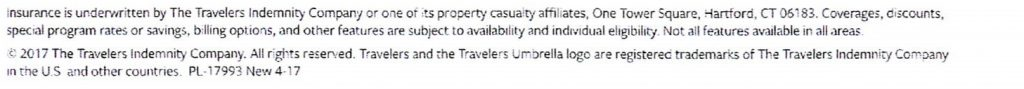 Travelers Indemnity Company disclaimer