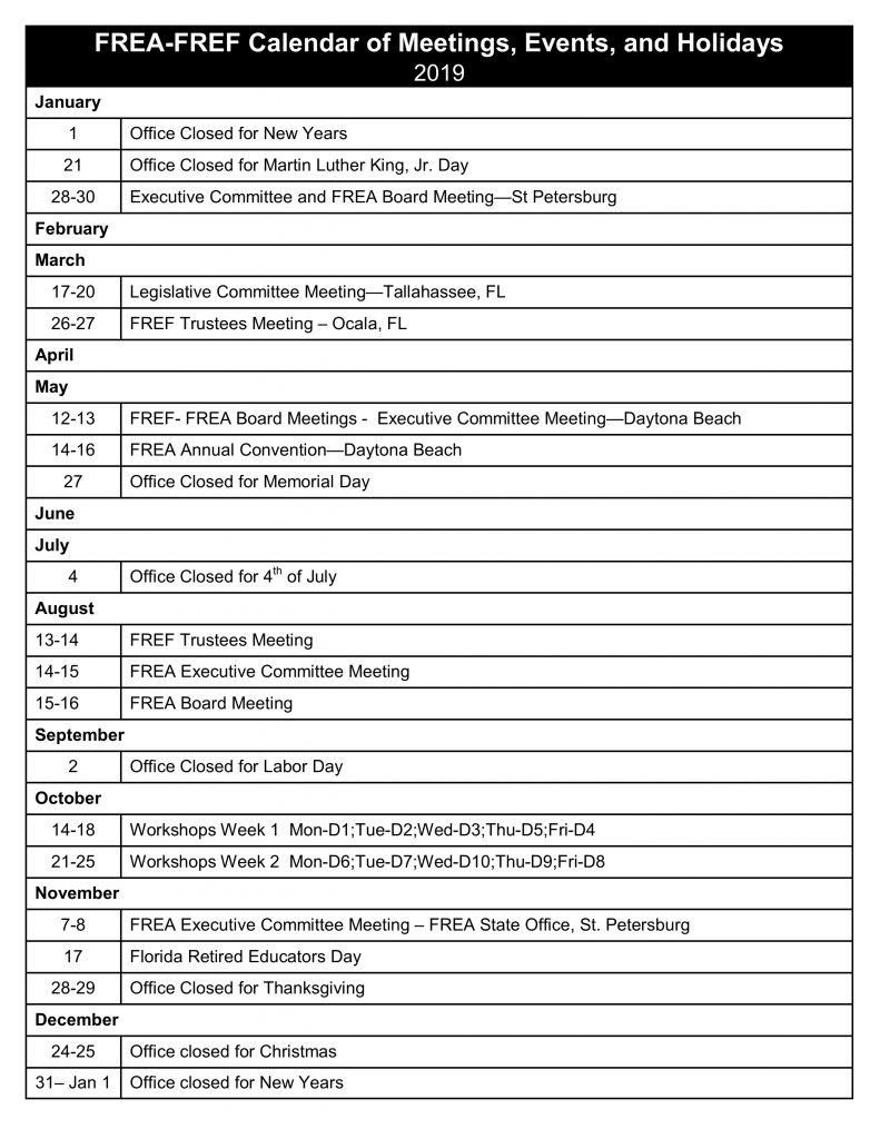 Calendar of Activities 2019