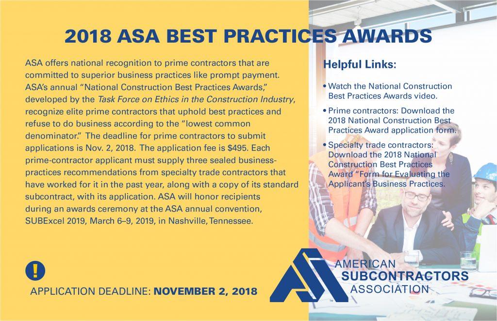 2018 ASA Best Practices Awards