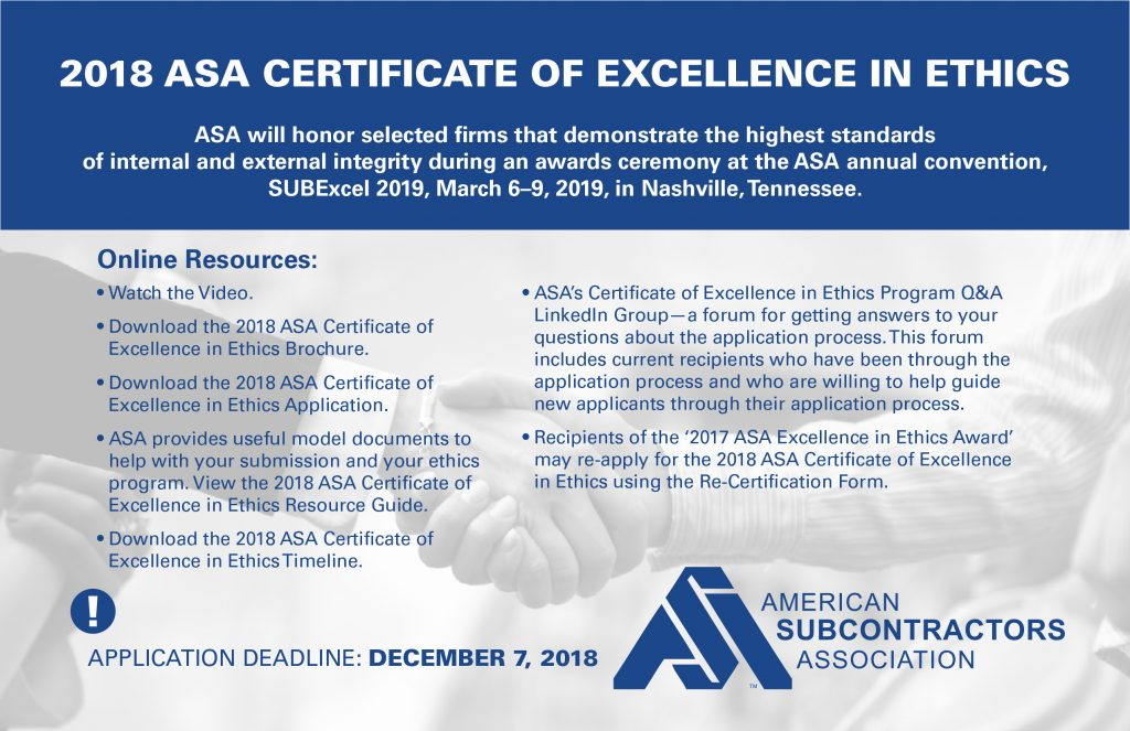 2018 ASA Certificate of Excellence in Ethics