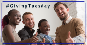 Giving Tuesday header image with four business professionals giving a thumbs up to the camera while smiling.