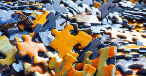 photo of puzzle pieces for blog post about questions of identity, purpose, and the future