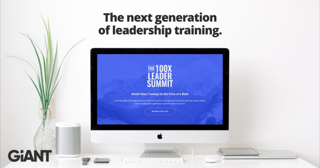 Banner with a computer monitor and the text the next generation of leadership training to promote the 100X Leader Summit.