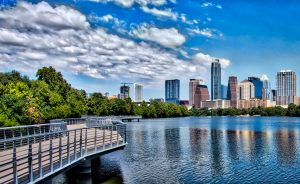 Image of Austin, Texas with the skyline and a cloudy sky