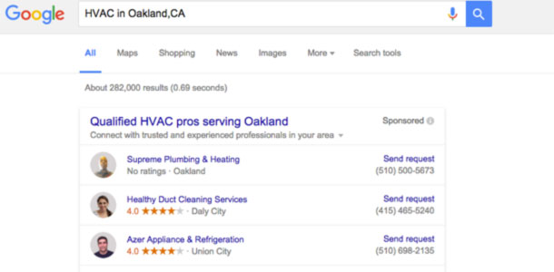 Google Home Service Ads for HVAc contractors in Bay Area