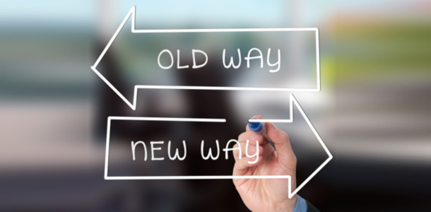 Image of the new way and the old way of doing things