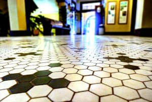 Lobby floor at The Redlands Hotel Downtown, Photo by David Shultz