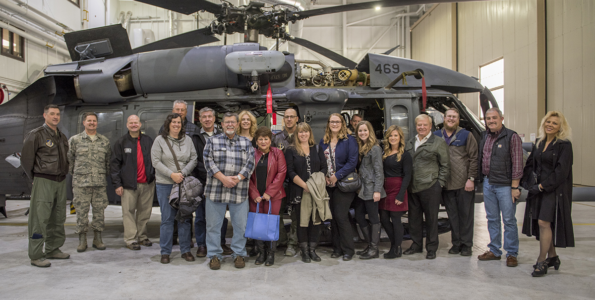 Sixteen members of the Military Affairs Commitee, Anchorage Chamber of Commerce, toured the Alaska Recue Coordination Center and one of the 176th Wing's HH-60 Pave Hawks Oct. 4, 2018, at Joint Base Elmendorf-Richardson, Alaska. Orienting community members on Alaska Air National Guard missions helps guardsmen and community members be better neighbors. (U.S. Air National Guard photo by Tech. Sgt. N. Alicia Halla/Released)