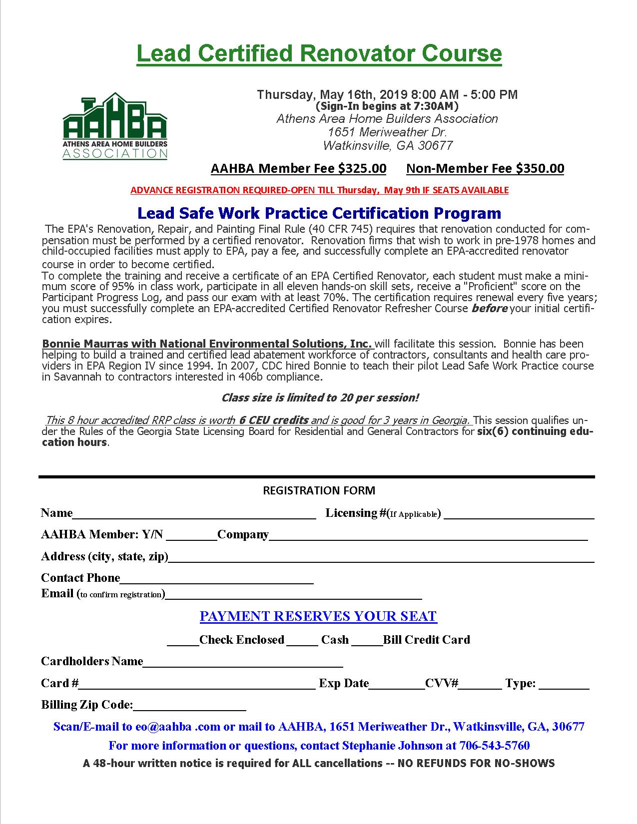 Lead RRP Course Registration Form