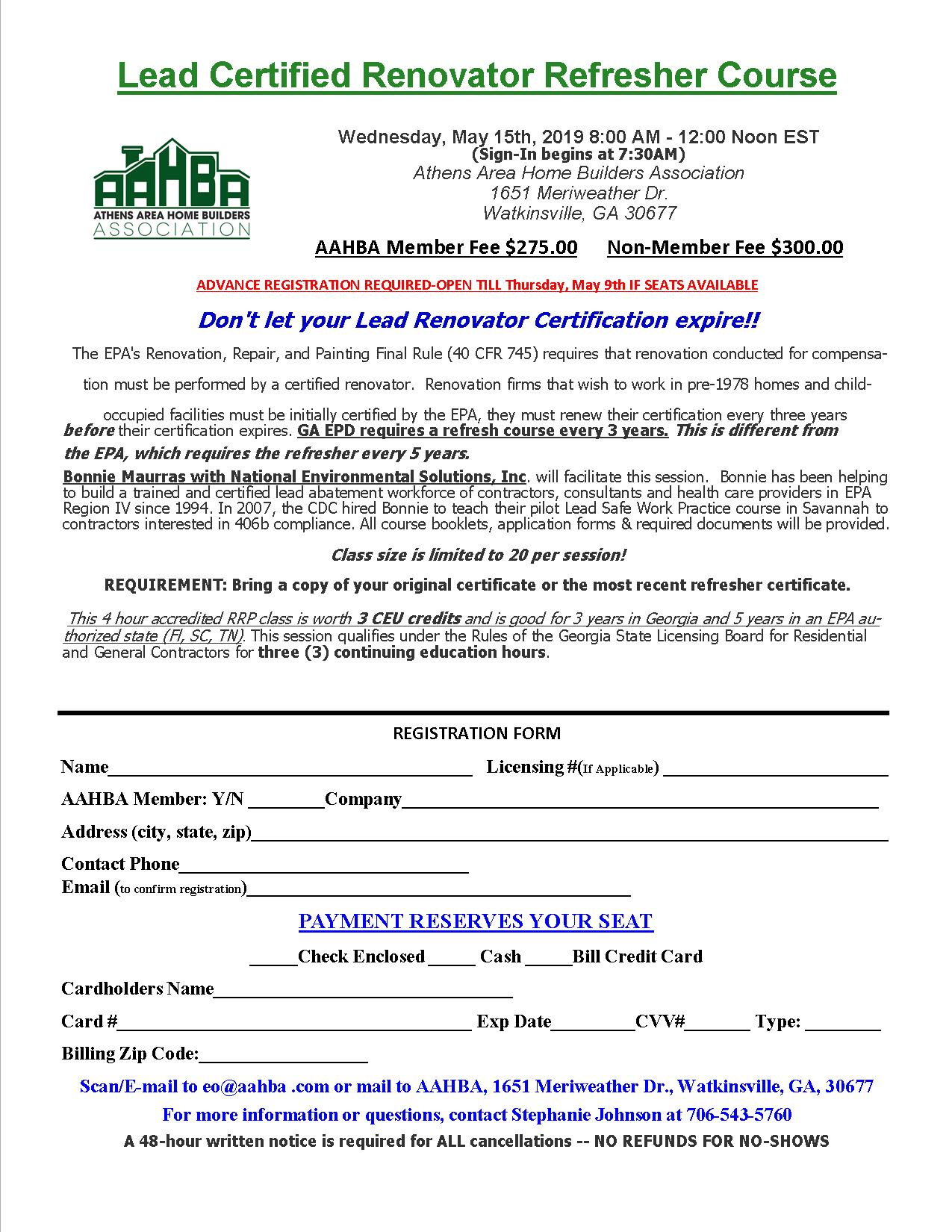 Lead RRP Refresher Course Registration Form
